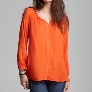 Soft Joie Womens Odessa Top in Orange Button Up